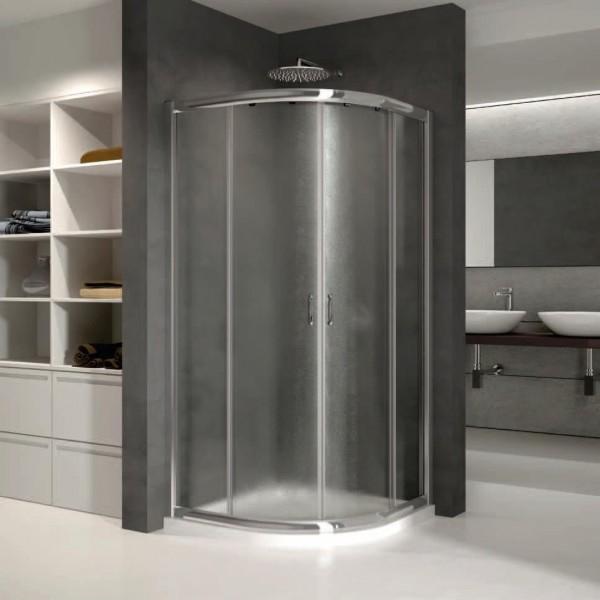 Box doccia semicircolare scorrevole cm 90 x 90 cristallo for Box doccia angolare 90x90